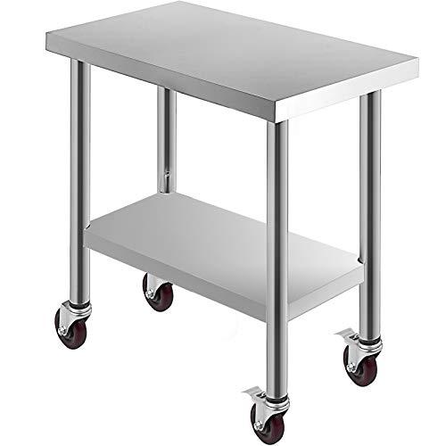 Succebuy Table de Travail de Restauration en Acier Inoxydable 762 x 457 mm avec 4 Roues Table de Travail Professionnelle pour la Préparation des Aliments