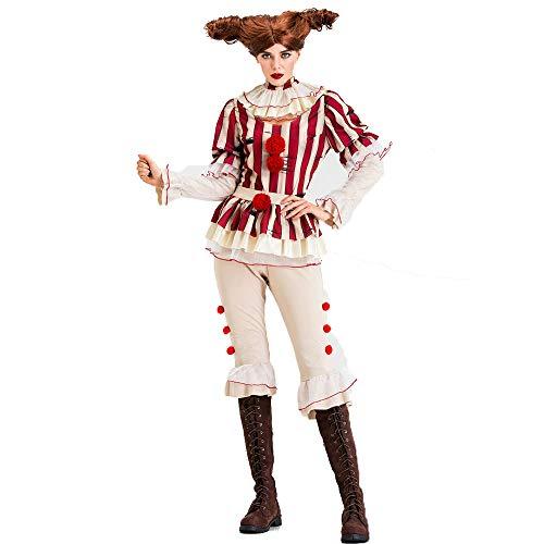 CAGYMJ Dames Halloween Kostuum, Geschikt voor Volwassen Vrouwelijke Broeken Pak Horror Evil Clown Robes Retro Dress,Costume Party Game Uniform