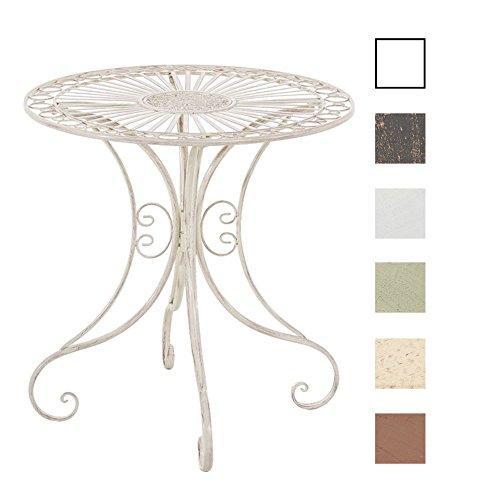 CLP Eisentisch Hari im Jugendstil I Gartentisch mit kunstvollen Verzierungen I erhältlich, Farbe:antik-Creme
