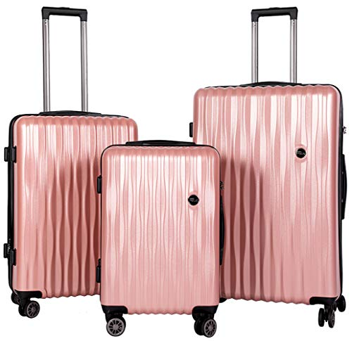 BRONCO POLO Suitcases with Wheels Luggage Sets 3 Piece Expandable Lightweight Carry on Luggage Hardshell Spinner Wheels PC+ABS with TSA Lock, 20in 24in 28in-Rose Gold