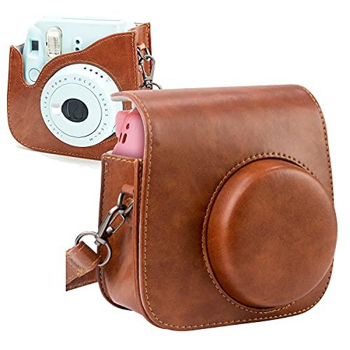 PTN Kunstleder Tasche Kameratasche für Fujifilm Instax Mini 9 / Mini 8 8 + Sofortbildkamera Vintage Compact Schutztasche Reise Kameratasche Gehäuse Taschen mit Schultergurt & Tasche