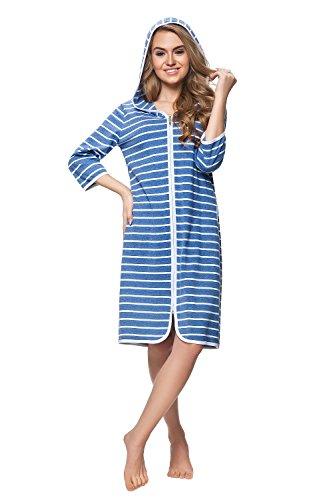 DOROTA kuscheliger und moderner Damen-Baumwoll-Bademantel mit Taschen, Reißverschluss & Kapuze, Made in EU, blau-gestreift, Gr. 3XL (46)