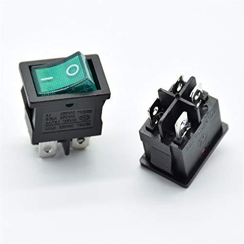 HGLNBN Interruptor basculante 10 PCS 21x15mm Interruptor de alimentación del Eje de balancín con el LED Enciende Barco Rojo 4 Pin 2 Tamaño del Agujero Terminal 13 * 19 mm 6A 250V 125V