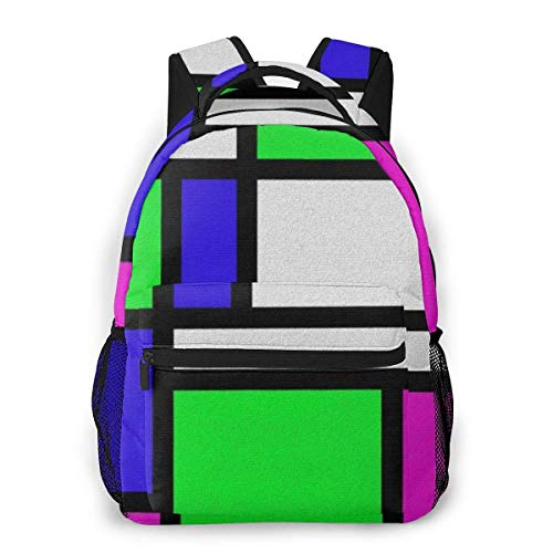 Lawenp Mochila Unisex de Moda Mochila Rectangular Colorida Mochila Ligera para portátil para Viajes Escolares Acampar al Aire Libre