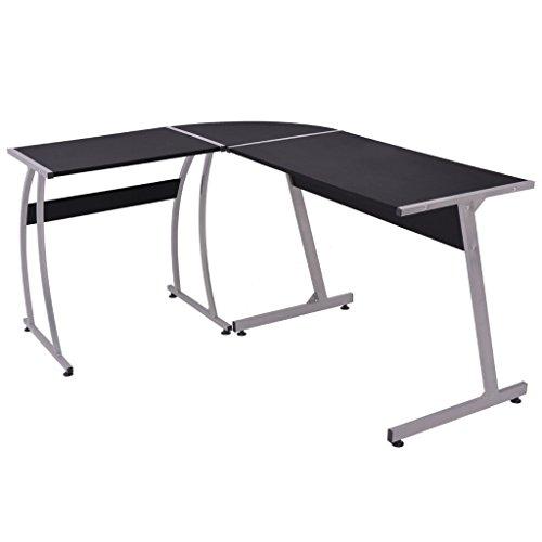 Festnight L-förmige Eckschreibtisch Schreibtisch Arbeitstisch Bürotisch Computertisch für Büro oder Arbeitszimmer Kinderzimmer - Schwarz