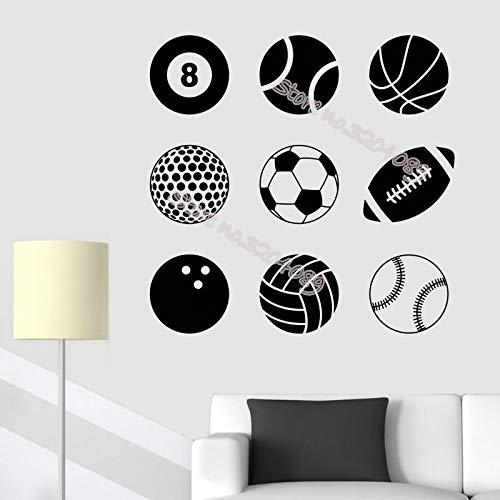 XCJX Ball wandaufkleber Billard Basketball Tennis Golf fußball Bowling Bowling fußball Softball Sport Spiel Spiele 56x56 cm