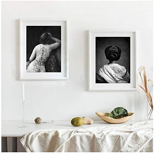 WUJUNHAOFBH Arabesque Tattoo Woman Art Vintage Portrait Photo Collage Art Prints Bohemian Artwork Figurative Art Canvas Painting50x70cm Sin Marco