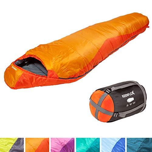 KeenFlex Mumienschlafsack 350 - 3 Jahreszeiten -5℃ + 15℃ - Hochentwickeltes Wärmeregulierungssystem – Ideal für Camping, Backpacking oder Wandern (Orange)