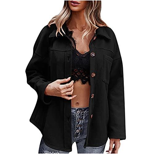 Wirziis Shacket Jacket for Women Casual Button Down Plaid Shirt Oversize Lapel Neck Pea Coat Loose Fit Jacket Coat Tops