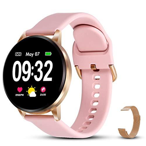 GOKOO Pulsera de Actividad Smartwatch Reloj Inteligente con podómetro, Monitor de Frecuencia Cardíaca Calorías Cronómetro de Monitoreo del Sueño de Android (Rosa) …