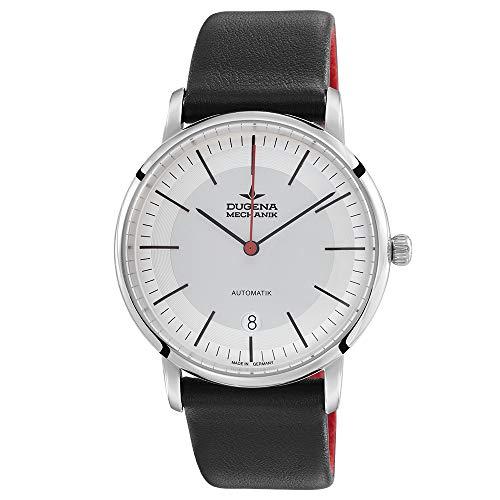DUGENA Festa Bauhaus 7000361 - Reloj de pulsera automático para hombre (esfera blanca, caja de acero inoxidable, cristal de zafiro, correa de piel, hebilla, 5 bares)