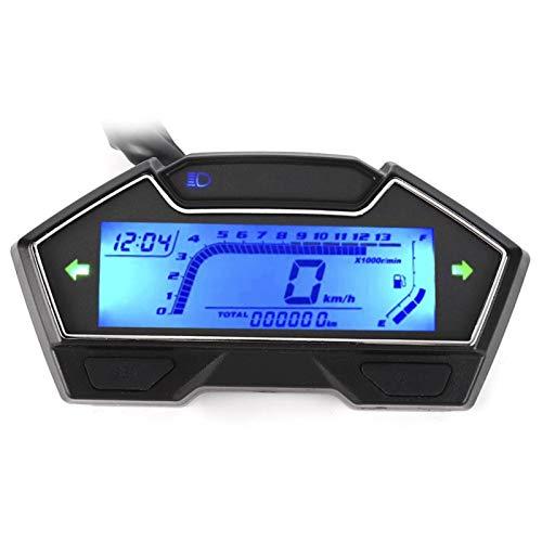 Qqmora Odómetro con Pantalla de Nivel de Aceite Práctico ABS 0-10000RPM 12V Instrumento Profesional para Motocicleta