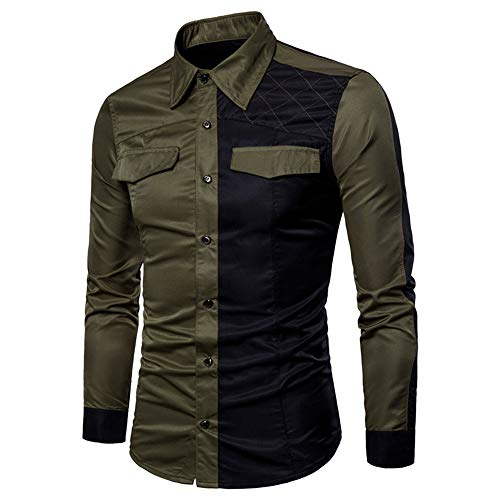 YINLAN Mens Solid Color Cowboy Jacket Button Down Cardigan Sweatshirt T-shirt Tops Mens Casual Lightweight Lapel Collar Slim Fit Formal Business Pocket on Chest Dress Shirt Blouse Army Green