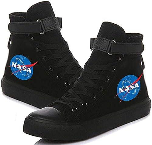 1 1 Pcs Unisexe NASA chanteuse High Top Idole paniers Tissu Chaussures de Loisirs Sport Grande Taille pour Homme Femme Adolescent 11 Noir,38