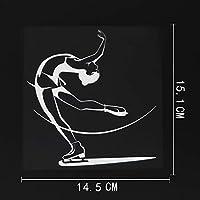 ステッカー剥がし 14.5CMX15.1CMアイススケートスキーウィンタースポーツデカールビニール車ステッカーブラック/シルバー ステッカー剥がし (Color Name : Silver)
