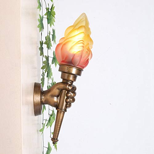 Creativa antorcha personalidad retro E27 lámpara de pared medieval creativa antorcha pared europea clásica ligera Bar Nostálgico Llama aplique de la pared Industrial impermeable al aire libre pared li