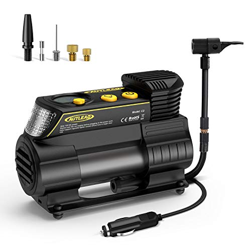AUTLEAD 12V Tire Inflator 40L/Min C2 Portable Air Compressor with Quick Release Chuck, Digital Gauge, Emergency Light, Fast Inflating for Car, Bicycle, Ball, Balloon