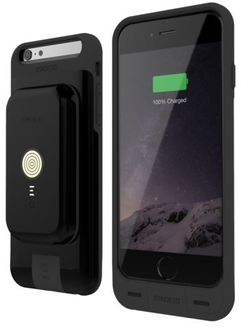 iPhone 6/6S Stack Pack (Black) - Magnetic Wireless Charging Receiver Case, Removeable Battery Pack, Wall Charger