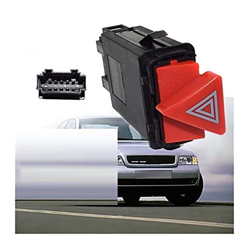 XQMY Indicador de Advertencia de Peligro de Emergencia del automóvil Interruptor de luz del Interruptor Rojo botón 8D0941509H 8D0 941 509 H Apto para Audi A3 A4 A6 C5 Todo el Camino