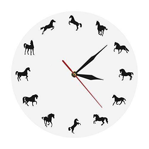 WANGY Paard Silhouette Wandklok Paard Training Decoratieve Wandklok Paardensport Mural Knight Gift