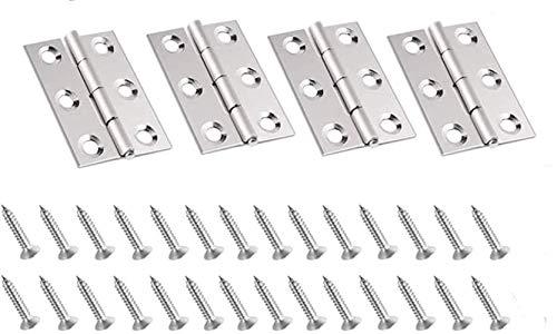 YKKJ 4 Stück Edelstahl Tür-Scharnier Scharniere für Fenster Schrank, Schaniere Klappbar mit 6 Montage Löcher Steckverbinder Türangeln