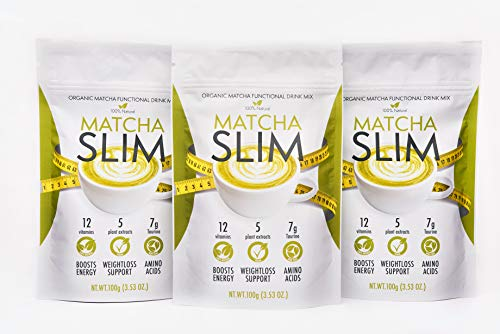 2+1 Matcha Slim Energy Drink Mix Powder Supplement with Taurine & Spirulina 100g – Natural, Sugar Free, Vitamin Rich Green Tea Diet Detox Fuel for Weight Loss Support & Metabolism Boost in Women, Men