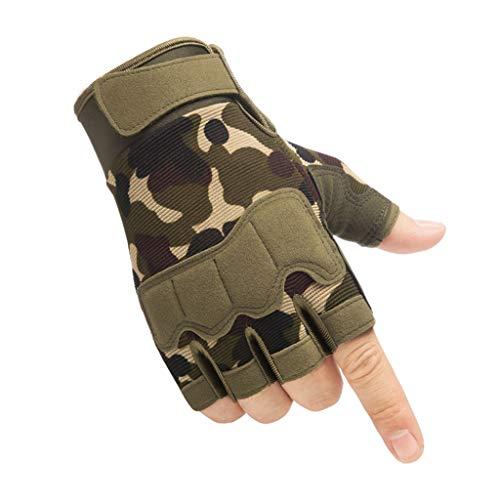 Fugift Guantes de protección para los nudillos sin dedos, para deportes al aire libre, camuflaje, anti corte, caza, senderismo, escalada, ciclismo, medio dedo, guantes cortos para invierno frío