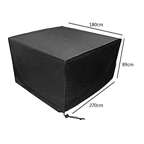 Deylaying Noir Table Chaise Meuble de Rangement Housse de Protection pour extérieur étanche Jardin Patio 270 * 180 * 89CM