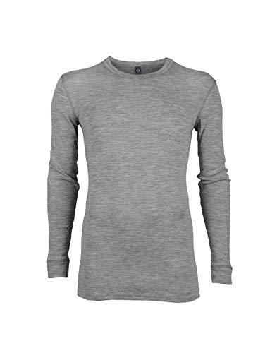 Dilling Merino Langarmshirt für Herren - 100% Natürliche Bio-Merinowäsche Grau L