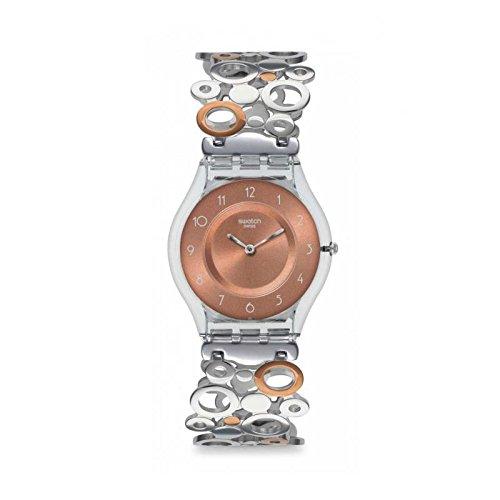 Swatch Damen Analog Quarz Uhr mit Plastik Armband SFK395HA