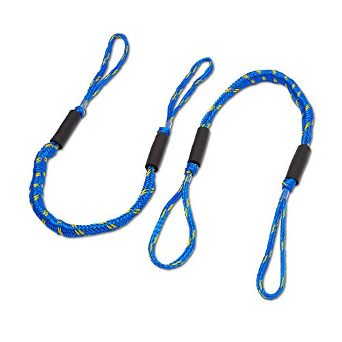 DOMABRI Boat Bungee Dock Rope - 2 Pack - 4 ft Mooring Line - Boating Dock Accessories - Quick Docking - Non-Jerking - Pontoon, Kayak, Fishing Boat - Durable - Free E-Book - Blue/Yellow