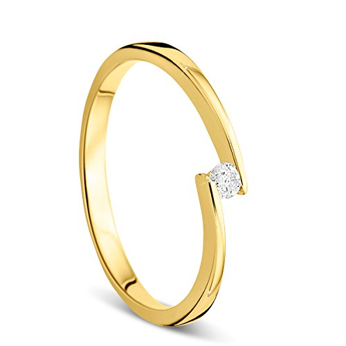 Orovi Ring für Damen Verlobungsring Gold Solitärring Diamantring 9 Karat (375) Brillanten 0.05crt GelbGold Ring mit Diamanten Ring Handgemacht in Italien