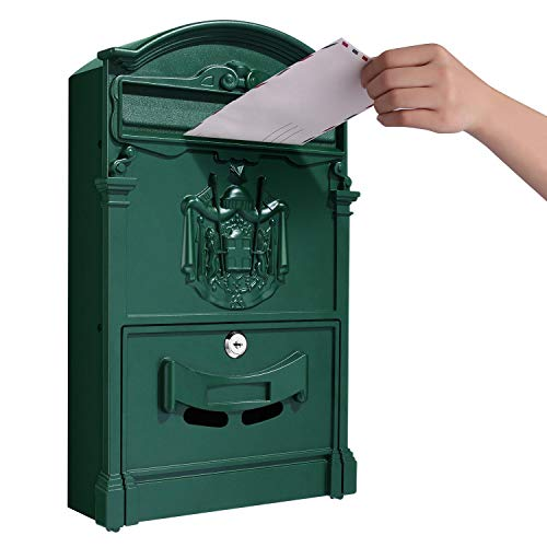 Tooluck Wall Mount Mailbox, Large Capacity Locking Mailboxes with Key Lock, Galvanized Stainless Steel Mail Box for Home Decorative, Green