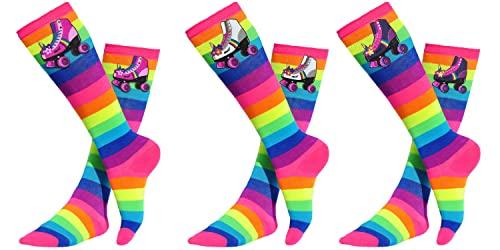 Bubblegum Divas Unicorn Roller Skating Glow Party Skate Knee High Socks Girls Youth (3 Pair)