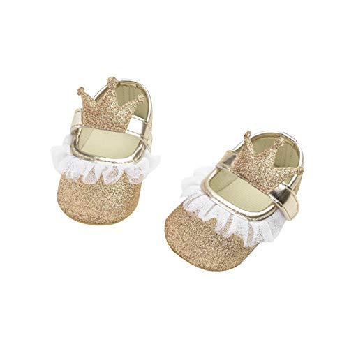 DEBAIJIA Baby Mädchen Prinzessin Schuhe Kleinkind Schöne Krone Spitze Weiche Sohle rutschfeste Kunstleder Geeignet für 6-18 Monate Klettverschluss Gold 17 EU (Etikettengröße 1)