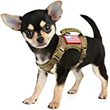 Tactical Service Dog Harness Vest,K9 Adjustable Military Working Harness Water-Resistant Comfortable Training MOLLE Dog Vest with Handle (XS, Khaki)