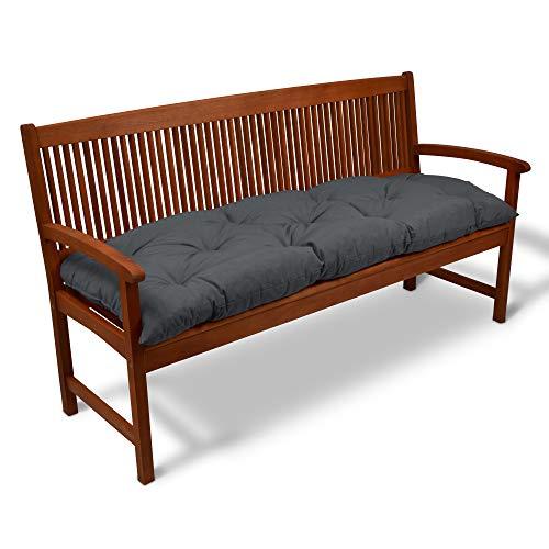 Beautissu Coussin pour Banc de Jardin Flair BK terrasse, Balcon - balancelle - Banquette - Assise Confortable - 180x50x10cm - Graphite Gris