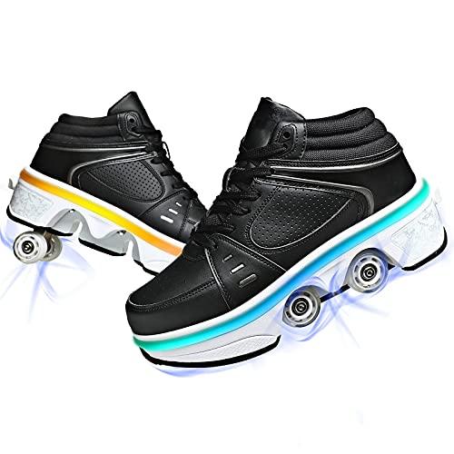 Ylmhe LED USB carga Deformación Roller Skate zapatos con ruedas zapatos de luz para arriba rodillo zapatos recargable para niñas niños niños
