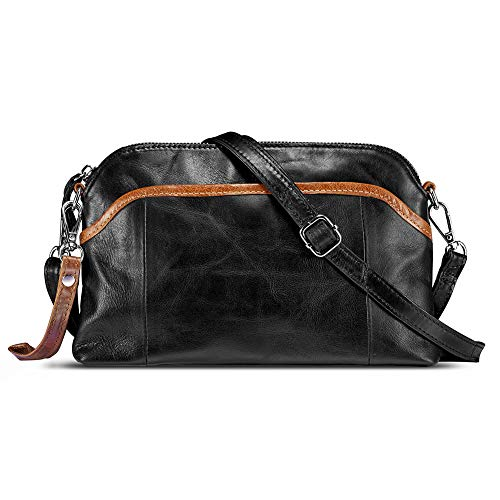Lecxci Small Women's Soft Vintage Leather Crossbody Travel Smartphone Bag Wristlets Clutch Wallet Purse (Black)