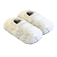 Idea Regalo - Thermo Sox pantofole riscaldabili ciabatte con semi per microonde e forno misura M / EU36-40 crema - pantofole per microonde ciabatte calde Scaldapiedi