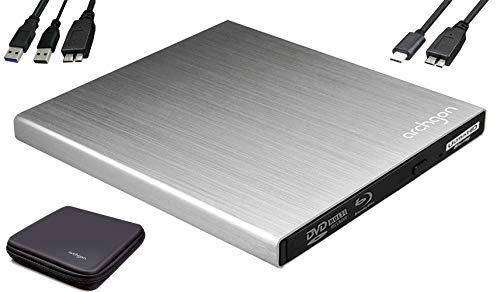 Archgon Star UHD Externer 4K-Ultra HD BD Player, Blu-ray BDXL Brenner extern für PC USB 3.0 / -C, M-Disk, Schutzbox, externes UHD BluRay Laufwerk, Alu Silber