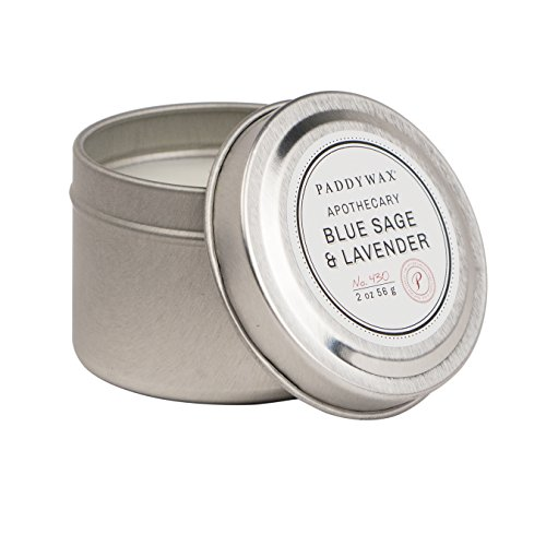 Paddywax Apothecary Collection Scented Travel Tin Candle, 2-Ounce, Blue Sage & Lavender