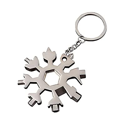 Snowflake Tool 18-in-1 Snowflake Multi-Tool Stainless Steel Snowflake Bottle Opener Flat Phillips Screwdriver Kit Wrench Durable and Portable to Take Great Christmas Gift(Silver?
