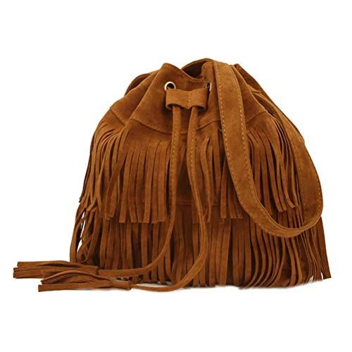 FENICAL Mode Fransen Quasten Retro Umhängetasche Eimer Tasche Cross-Body Tote Handtasche für Frauen Damen (braun)