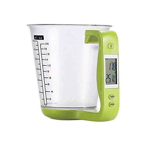 Digitale Messbecher Küchenwaage Messbecherwaage Digitale Beaker Waage Elektronische Küchenwaage mit Messbecher zum Wiegen und Messen. Mit LCD-anzeige Zuwiegefunktion (Green)