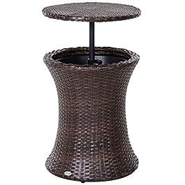 Outsunny Seau à Glace Table Basse 2 en 1 Ø 48 x 83H cm métal époxy résine tressée Imitation rotin Marron