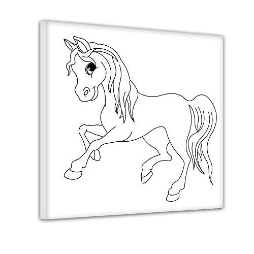 Bilderdepot24 Pferd im Galopp - Ausmalbild auf Leinwand, aufgespannt auf Rahmen - Quadrat-Format - 30x30 cm