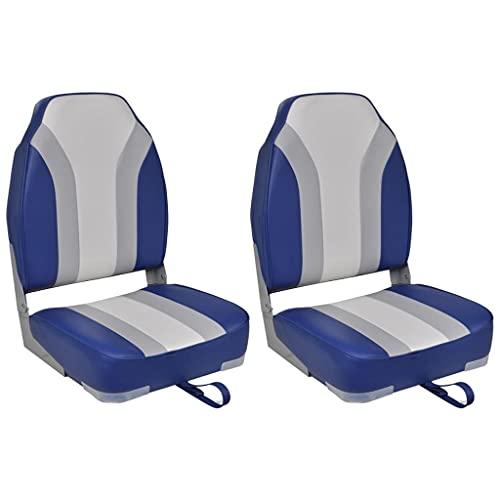 vidaXL 2X Bootssitz Klappbar Bootsstuhl Steuerstuhl Anglerstuhl Bootssitze Boot Sitz Umklappbare Rückenlehne Blau Weiß Grau 43x39,4x59,7cm