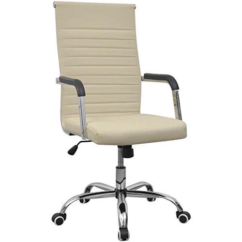 Cangzhoushopping bureaustoel kunstleer 55 x 63 cm crème meubels kantoormeubilair bureau- bureaustoel