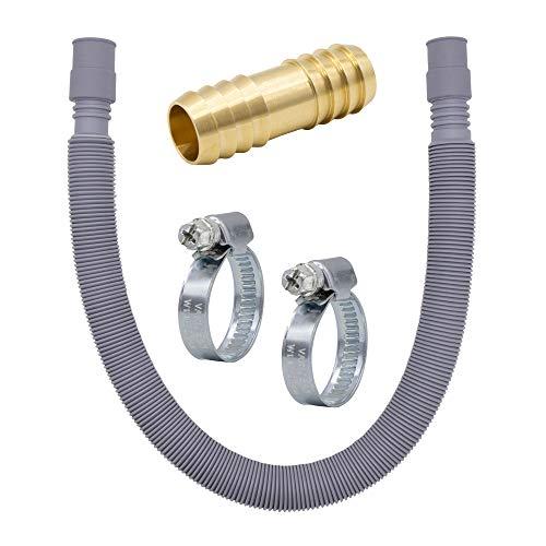Variosan 14955 - Set di prolunga per tubo di scarico, 60-200 cm, estensibile, 3/4', con connettore in ottone e fascette stringitubo, per lavatrice e lavastoviglie